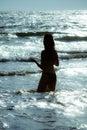 Woman sea dusk Royalty Free Stock Photo