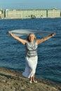 Woman on seacoast happy senior posing a Royalty Free Stock Photography