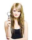 Woman On Search To Find Clues And Answer Questions Royalty Free Stock Photography