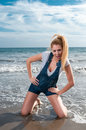 Woman at the seaside laughing blonde Royalty Free Stock Photo
