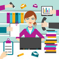 Woman secretary hard working. Royalty Free Stock Photo
