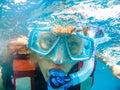 image photo : Woman selfie underwater