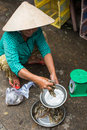 A woman selling fish at market in Hoi An, Vietnam Royalty Free Stock Photo