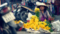 Woman selling flowers, Hoi An, Vietnam Royalty Free Stock Photo