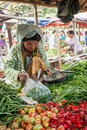 Woman selling greengrocery at asian market bagan myanmar january burmese spices and traditional marketplace burma travel Royalty Free Stock Photos