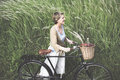 Woman Senior Bicycle Carefree Freshness Peaceful Concept