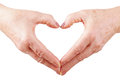 Woman senior hands show heart gesture Royalty Free Stock Photos
