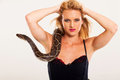 Woman with serpent Royalty Free Stock Image