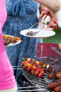 Woman serving dinner on barbecue party Royalty Free Stock Photo