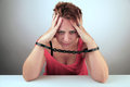 Woman in shackles Royalty Free Stock Photo