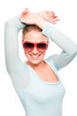 Woman with shades smiling female red posing on a white background Stock Photo