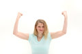 Woman shaking her fists in frustration Royalty Free Stock Photo