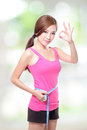Woman shapes and measure on white background sporty green asian Stock Photo