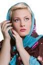 Woman in a shawl close religious on white background Royalty Free Stock Photography