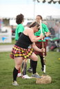 Woman sheath toss prepares for at the rio grande valley celtic festival in albuquerque nm Stock Image