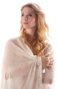 Woman in sheer peignoir an image of a young wearing a white Royalty Free Stock Image