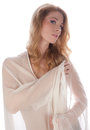 Woman in sheer peignoir an image of a young wearing a white Stock Images