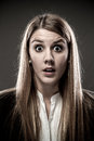Woman shocked portrait of young Stock Image