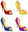 Woman shoes in colors Stock Photography