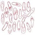 Woman shoes silhouettes pattern. Vector collection of outline footwear Royalty Free Stock Photo