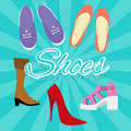 Woman shoes vector set illustration in flat style high heels boots sneaker from top Royalty Free Stock Photo