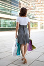 Woman after shooping Royalty Free Stock Images