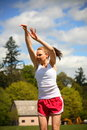 Woman shooting basketball Royalty Free Stock Image