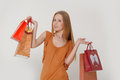 Woman with shopping Royalty Free Stock Images