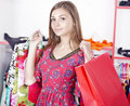 Woman shopping an attractive young lady out Stock Image