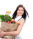 Woman with shopping bag with vegetables and fruits young holding groceries isolated on white background healthy eating concept Royalty Free Stock Photography