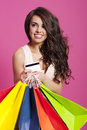 Woman with shopping bags attractive and credit card Royalty Free Stock Photography