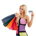 Woman with shopping bags and credit card beautiful blonde in hand Royalty Free Stock Images