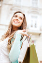 Woman with shopping bags in ctiy and tourism concept beautiful Royalty Free Stock Photography