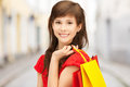 Woman with shopping bags in ctiy and tourism concept beautiful Stock Images