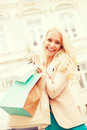 Woman with shopping bags in ctiy and tourism concept beautiful Stock Photos