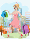 Woman with shopping bags illustration beautiful young Stock Photography