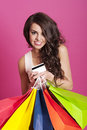 Woman with shopping bags lovely holding and credit card Stock Photo
