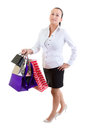 Woman with shopping bags over white background Royalty Free Stock Photo