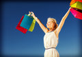 Woman with shopping bags and tourism concept Stock Photo