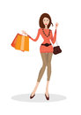 Woman with shopping bags vector illustration of young and handbag Stock Photo