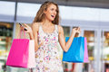 Woman with shopping bags young Stock Image