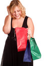 Woman with shopping bags young blonde Royalty Free Stock Images