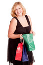 Woman with shopping bags young blonde Royalty Free Stock Photography