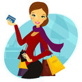 Woman shopping beautiful eps editable isolated Royalty Free Stock Image