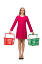 Woman with shopping cart isolated on white Royalty Free Stock Photo