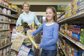 Woman shopping with daughter in supermarket smiling women Stock Photos