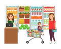Woman shopping in grocery store Royalty Free Stock Photo