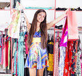Woman shopping happy attractive young lady out Royalty Free Stock Image