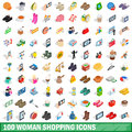 100 woman shopping icons set, isometric 3d style