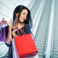 Woman shopping at the mall happy Royalty Free Stock Image